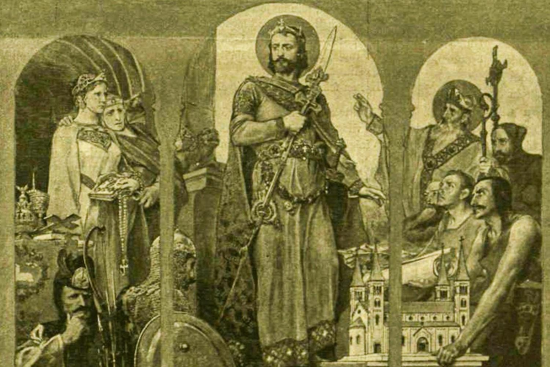 Szent István a keresztény vallást hirdeti. Roskovics Ignác festménye a Vasárnapi Ujság korabeli felvételén (az ajtók fölötti szupraport képek egyike)
