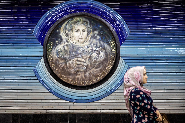 Valentyina Tyereskova portréja a Koszmonavtlar megállóban